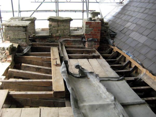 church roof with lead removed