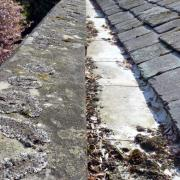 church gutter blocked with leaves